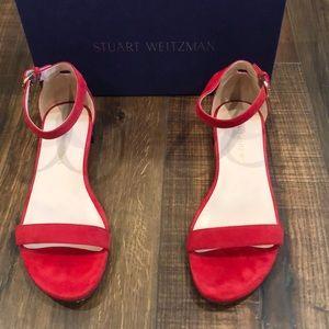 Stuart Weitzman red suede flat sandals
